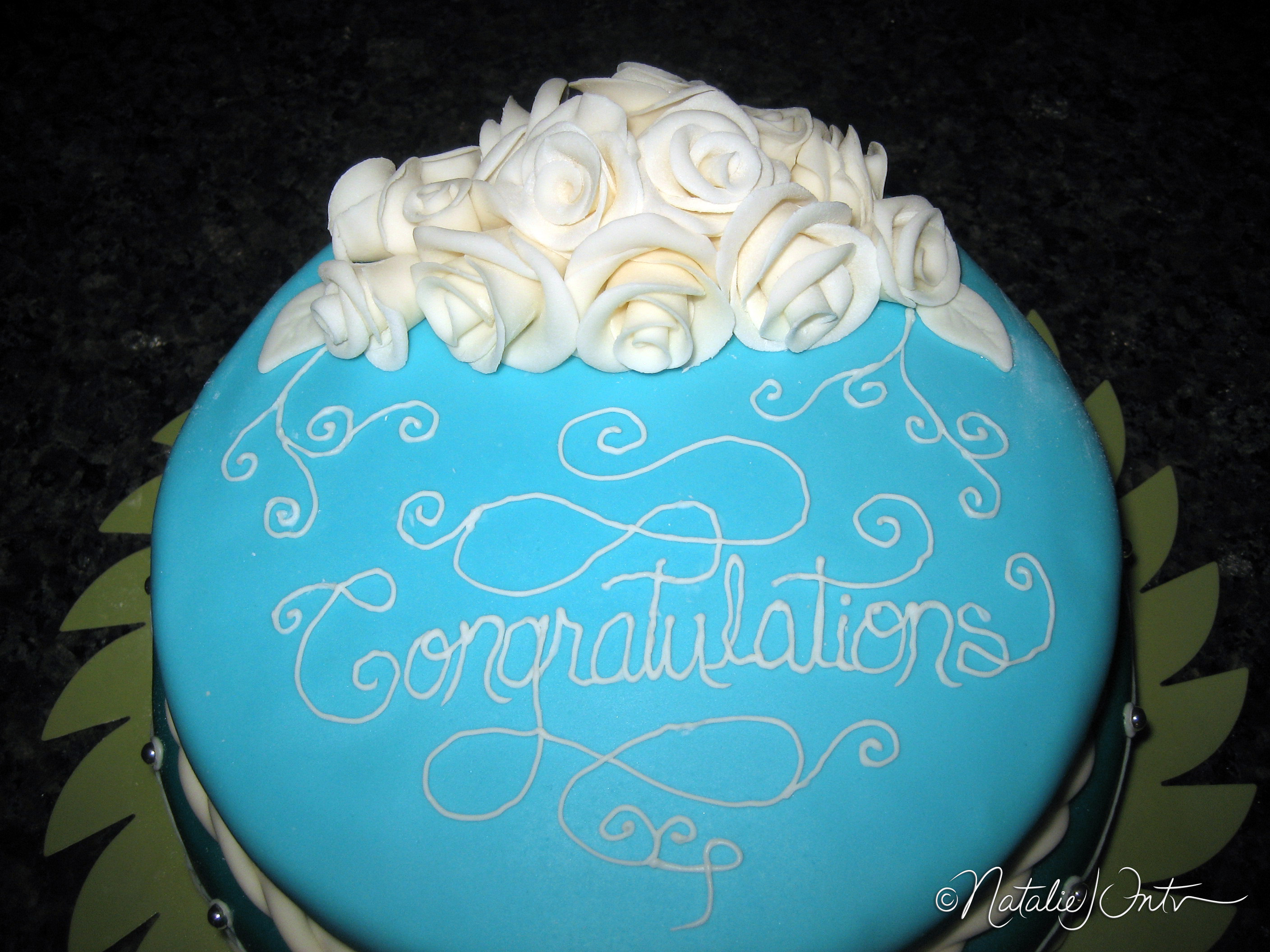Congratulations Cake (with white roses) Natalie Intven